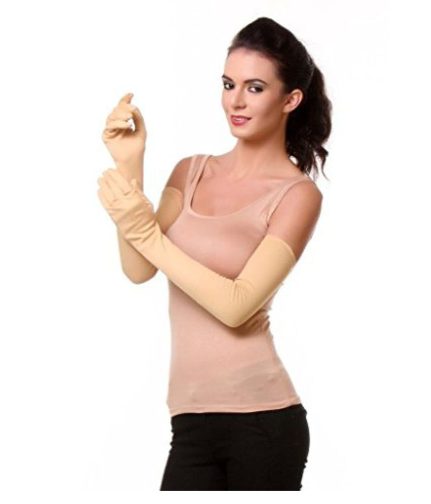Men's Women's Sun Protective Full Hand Riding Unisex Gloves ( 1 Pair ) Beige Colour  available at snapdeal for Rs.239
