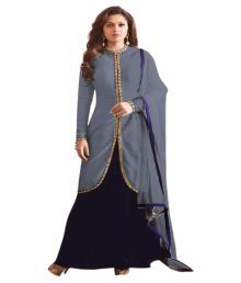 A And V Fashion Grey Silk Anarkali Semi-stitched Suit