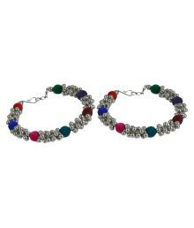 Ankur Imitation Jewellery Silver Plated Multicolour Brass Anklet For Women