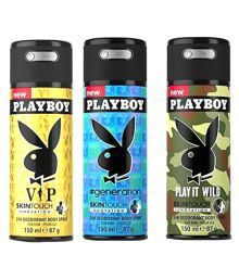 Playboy Mens Deodorant (vip, Generation, Wild) Pack Of 3