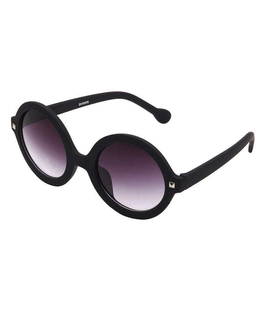 Eyekandy Black Plastic Round Sunglasses