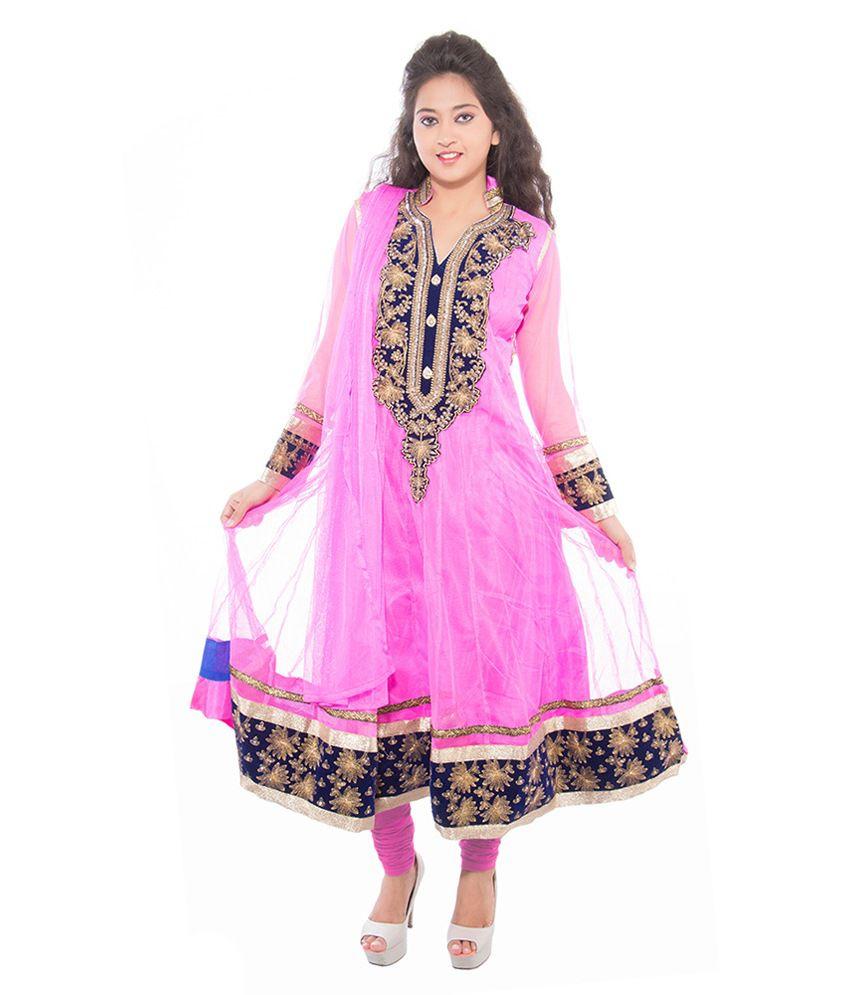 Jm Luxury Pink Net Stitched Suit