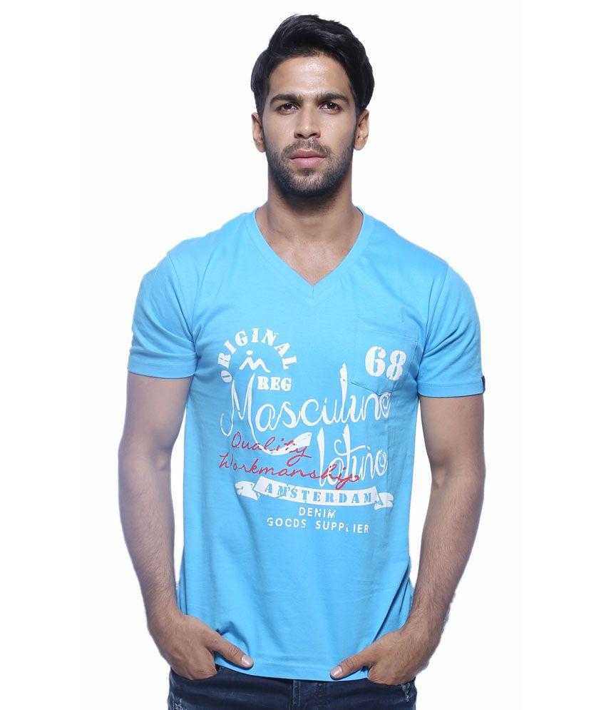 Masculino Latino Blue Cotton Half Sleeve V-Neck T-Shirt