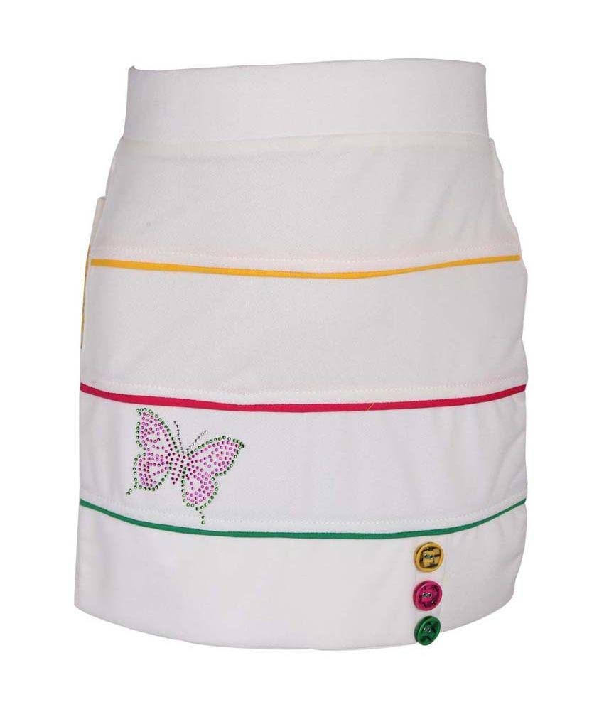 Leichie Cream Synthetic Elastic Skirt