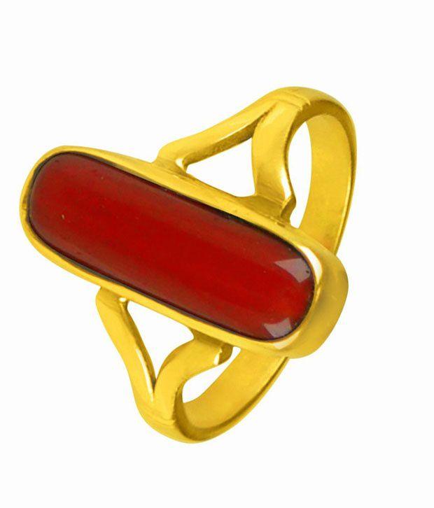 Asian Gems & Jewels Cultured Coral - Munga Gemstone Finger Ring (Panch Dhaatu) Of 2.25 Ratti