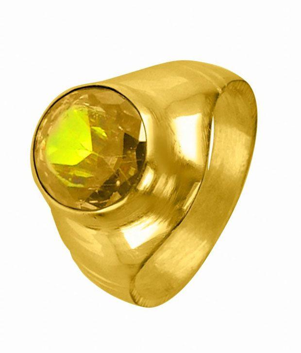 Asian Gems & Jewels Cultured Yellow Sapphire - Pukhraj Gemstone Finger Ring (Panch Dhaatu) Of 3.25 Ratti