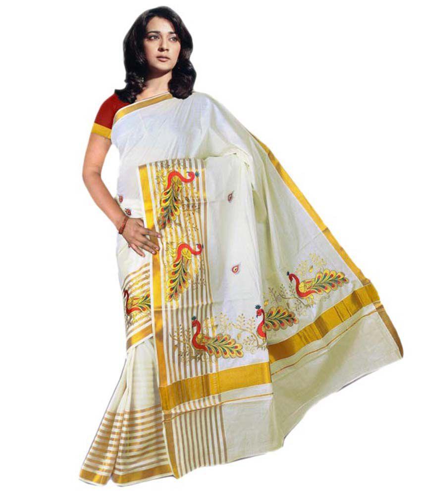 Fashion Kiosks Beige Cotton Border Work Saree With Blouse Piece