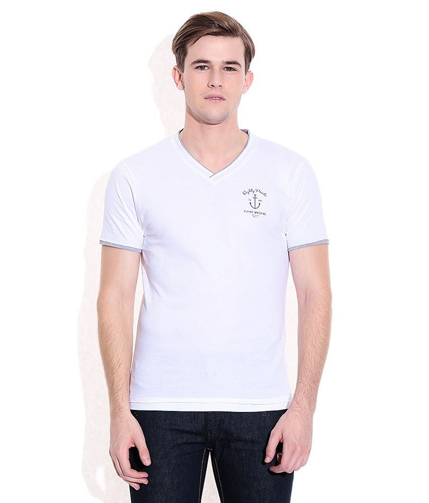 Flying Machine White Round Neck T Shirt