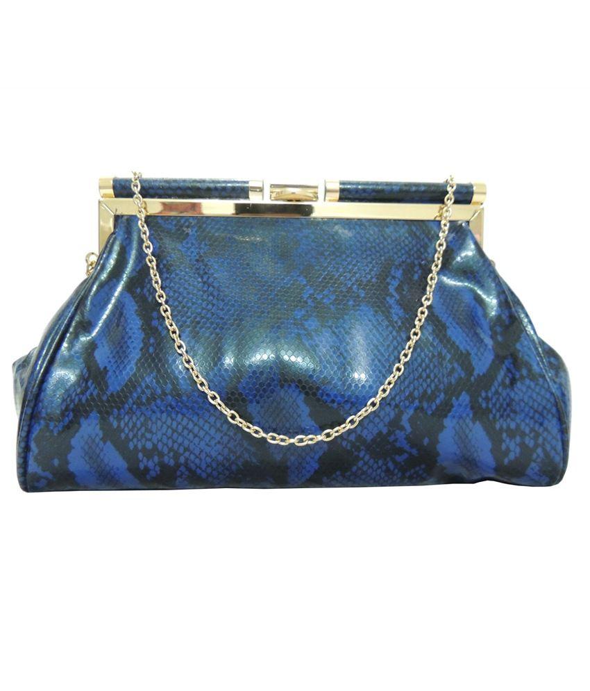 Kion Style Blue Clasp Clutch