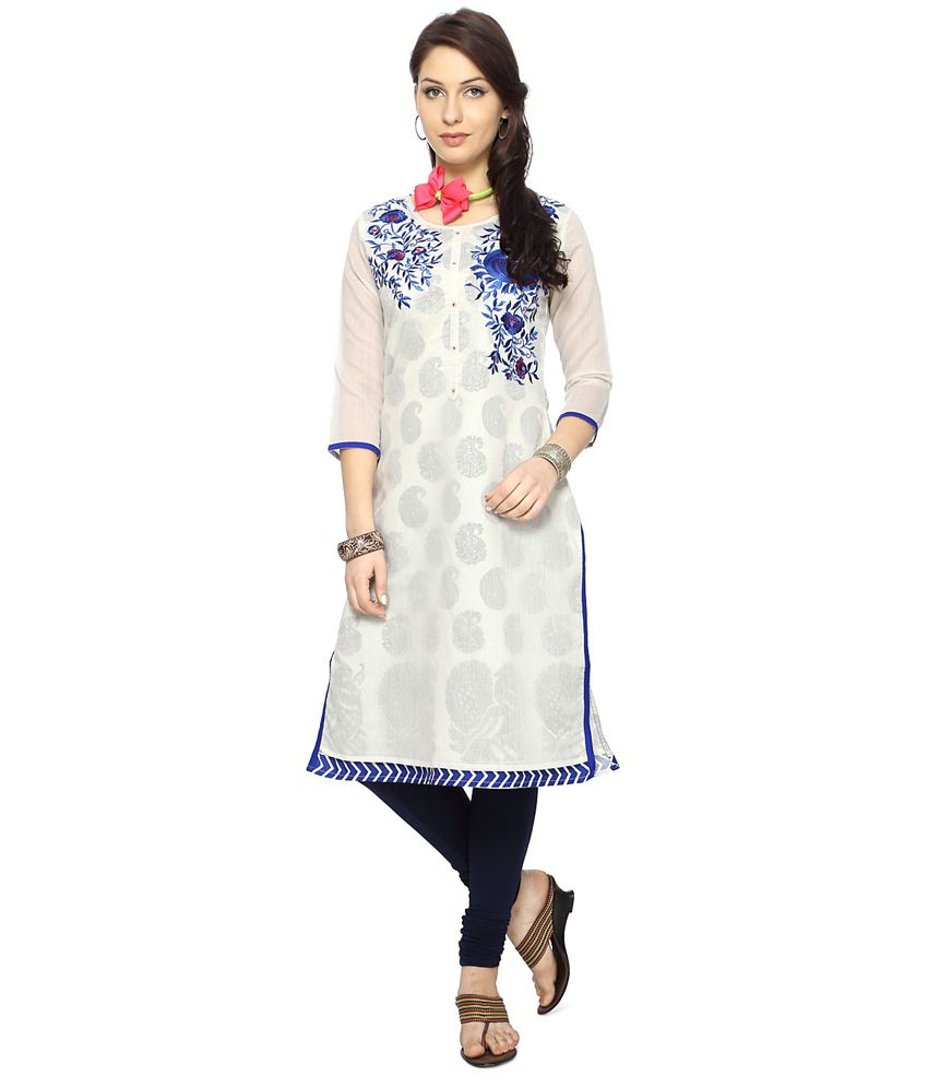 Rangmanch by Pantaloons White Chanderi Kurti