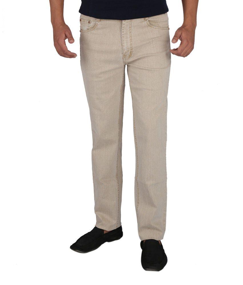 Denim-O Beige Cotton Jeans
