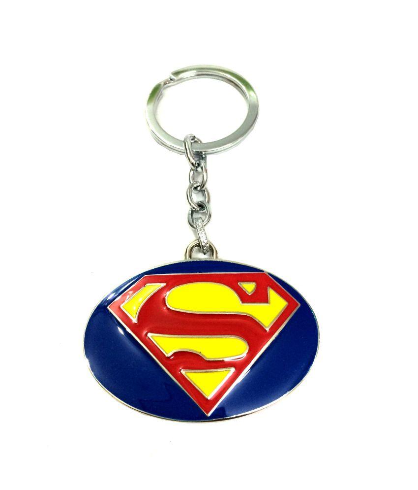 Designer Keychains Super Man Metal Key Chain