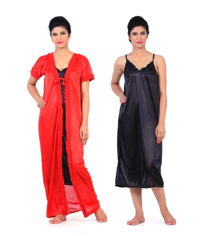 7e07184488 Buy Fabme Red Satin two piece Nighty Online at Best Prices in India -  Snapdeal