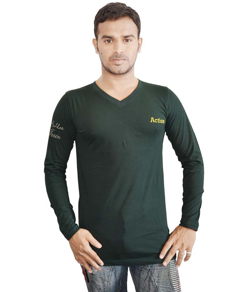 Harsha Black Cotton V-Neck Full Sleeves T-shirt