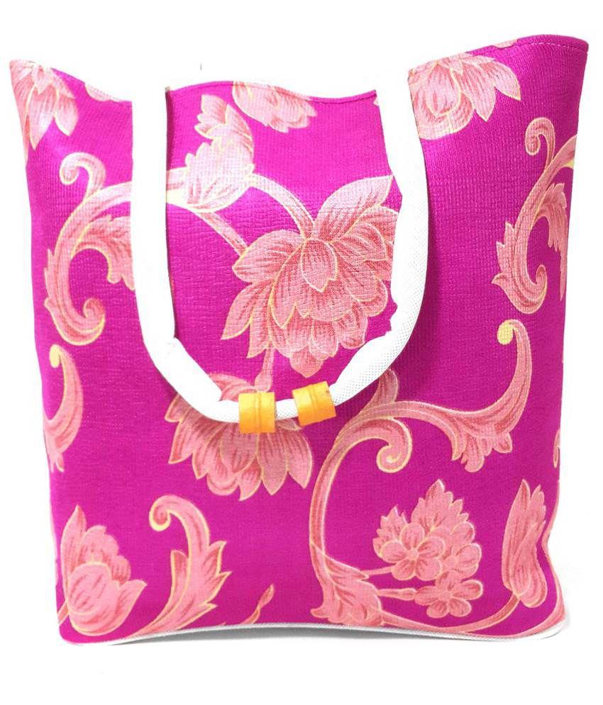 Archana Jute Bags Canvas Cloth Shoulder Bag-Pink