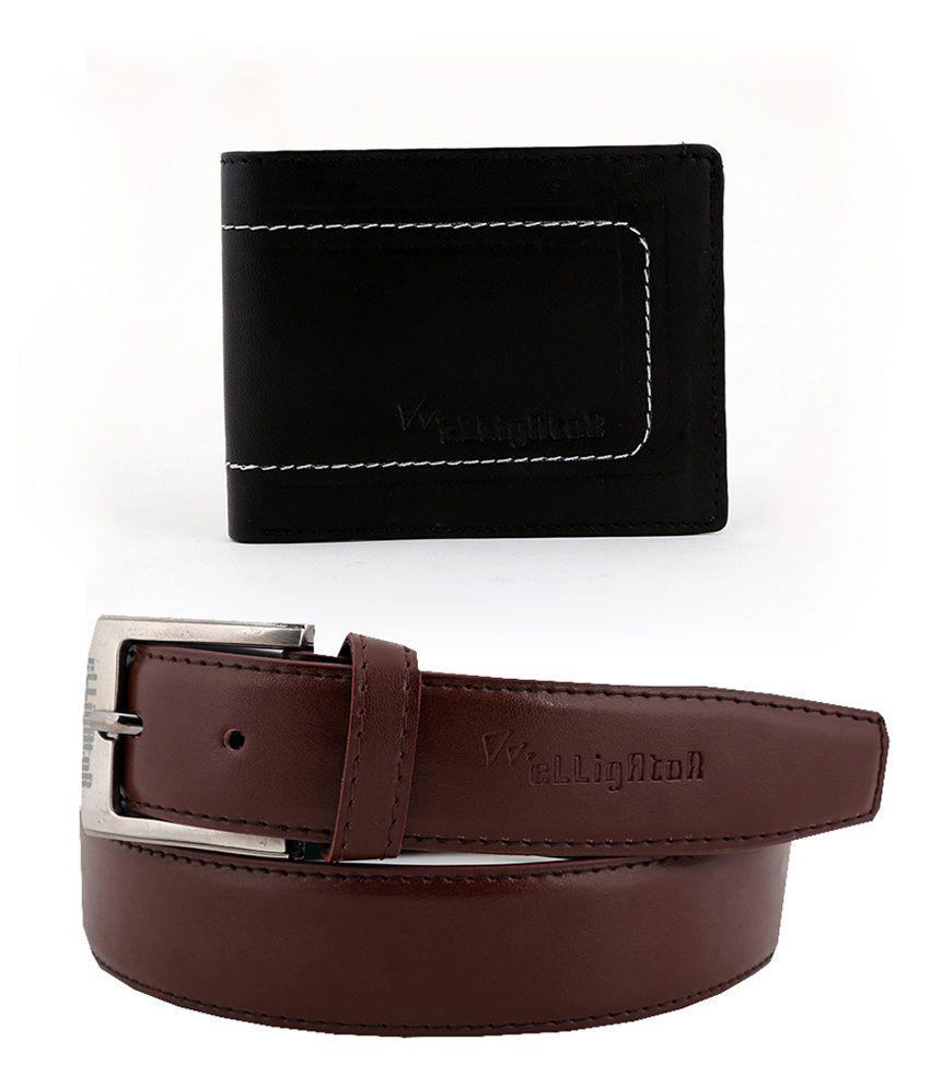 Elligator Brown Men Leather Belt with Wallet