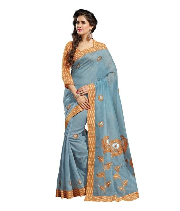 Chhabra Collections Blue Cotton Saree