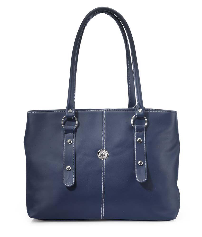 Frosty Fashion Blue P.u. Zip Closure Shoulder Bag