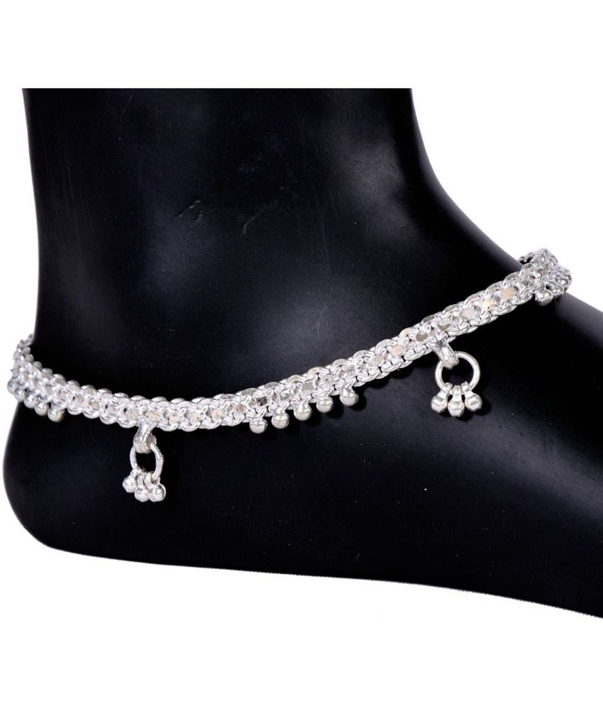 Jasbir Creations Style Diva Silver Coloured Bead Anklets
