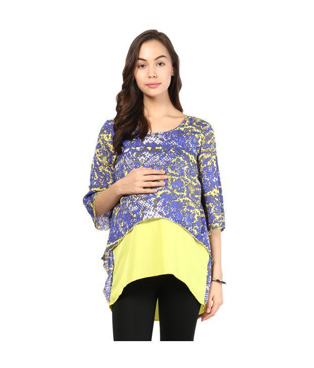 Mine4nine Yellow Poly Georgette Printed Maternity Dress