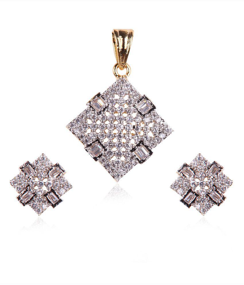 6e3994c9c 70% OFF on Rajwada Arts Stylish Square Design American Diamond Pendant Set  With Matching Earrings on Snapdeal | PaisaWapas.com