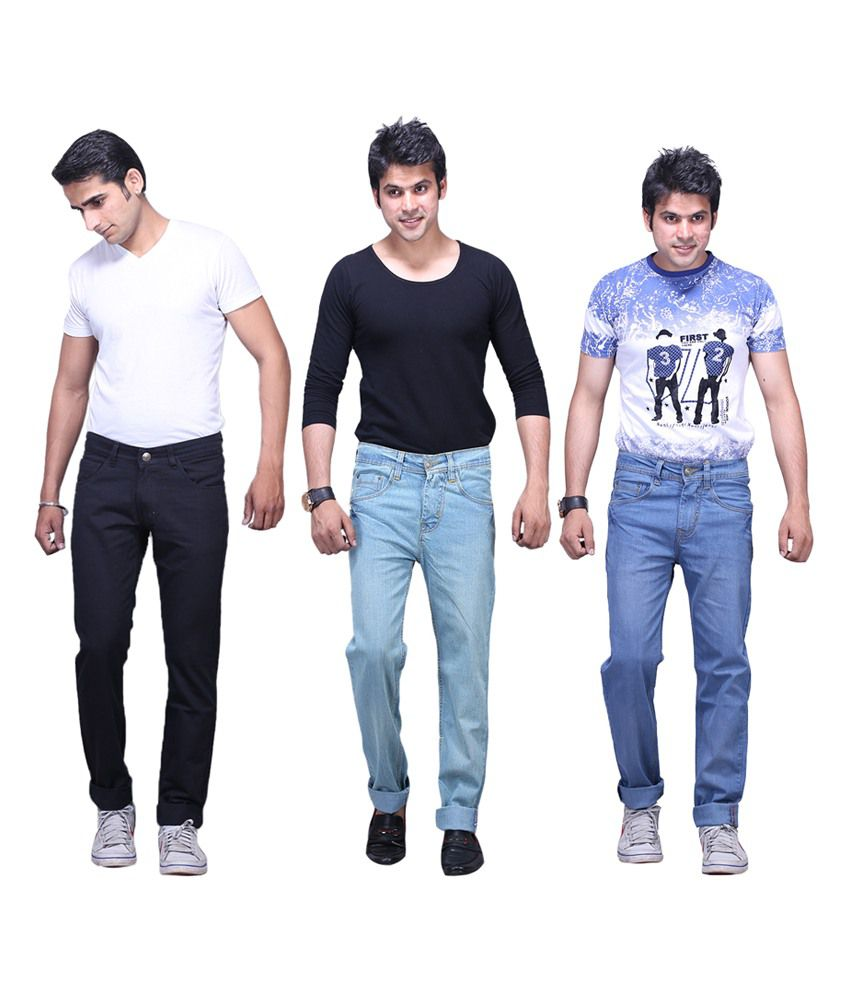 X-cross Multicolour Cotton Blend Regular Fit Jeans - Pack of 3