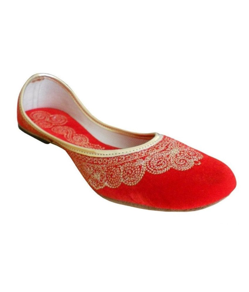 Kalra Creations Orange Traditional Handmade Jooti