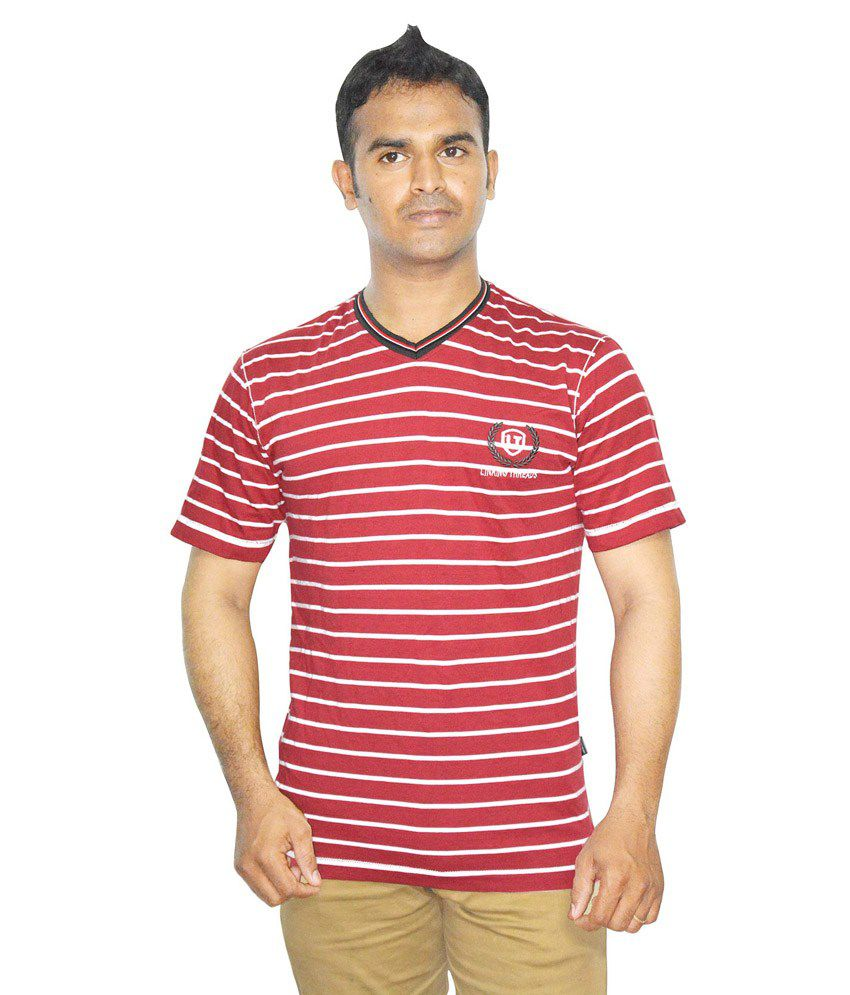 Linking Threads Red Cotton Half Sleeves V-neck T- Shirt