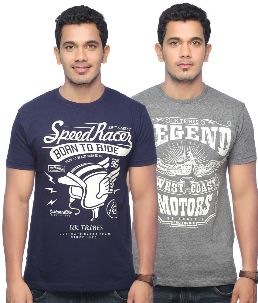 UK Tribes Black and Grey Cotton Half Round Neck Printed T-Shirt - Pack of 2