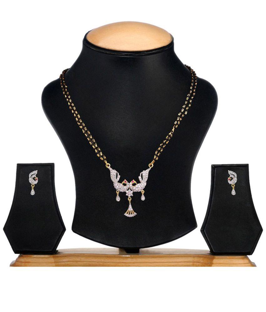 YouBella Traditional American Diamonds Mangalsutra Set