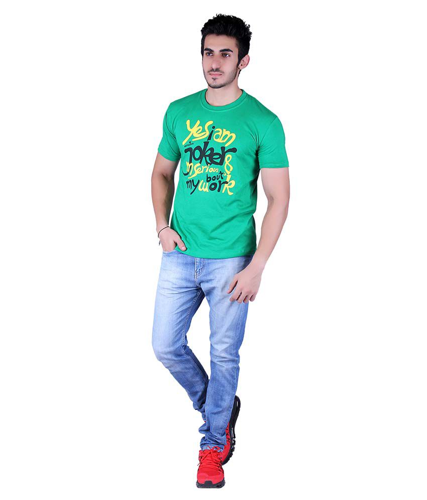 Metaloak Green Cotton Half Sleeve Round Neck Mens T-shirt