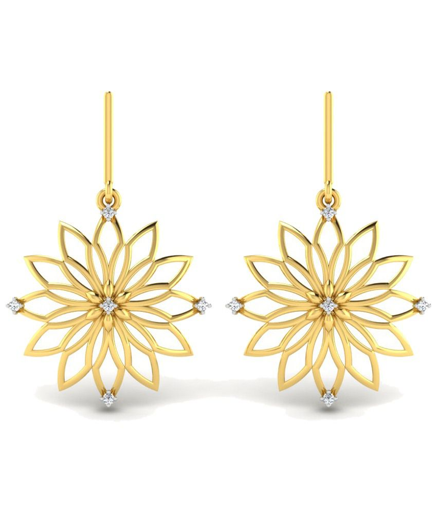 Sparkles 0.08 Ct Diamond & 18 Kt Gold Drop Earrings