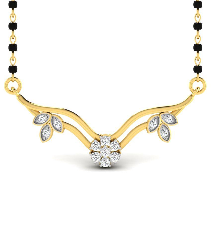 Sparkles 0.17 Ct Diamond & 18 Kt Gold Mangalsutra
