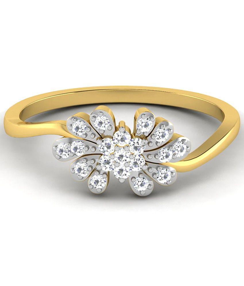 Sparkles 0.17 Ct Diamond & 18 Kt Gold Ring for Women