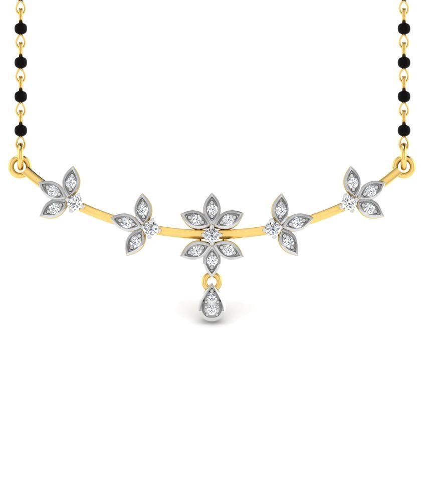 Sparkles 0.18 Ct Diamond & 18 Kt Gold Mangalsutra