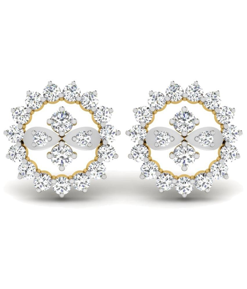 Sparkles Contemporary 0.39 Ct Diamond & 18 Kt Gold Stud Earrings