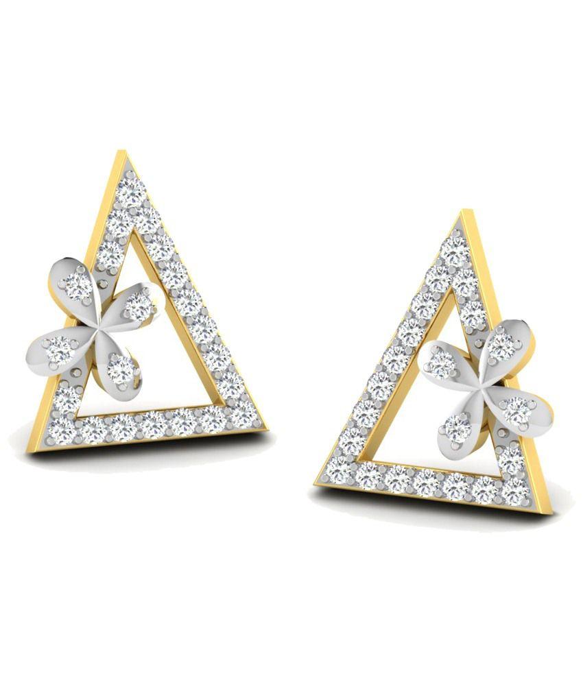 Sparkles Fabulous 0.09 Ct Diamond & 18K Gold Stud Earrings