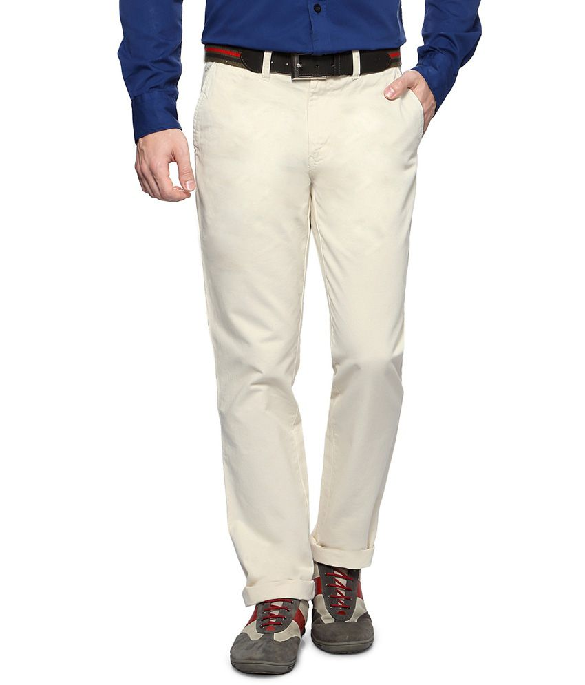 Byford by Pantaloons White Casual Cambridge Fit Trousers