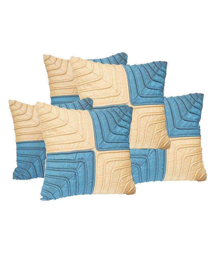xarans blue beige cushion cover set of 5 buy online. Black Bedroom Furniture Sets. Home Design Ideas