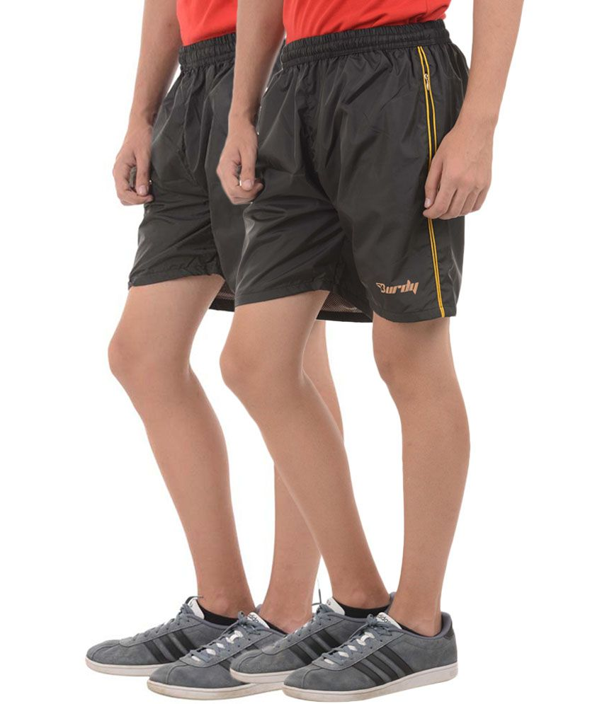 Burdy Black Polyester Solid Shorts (Pack of 2)