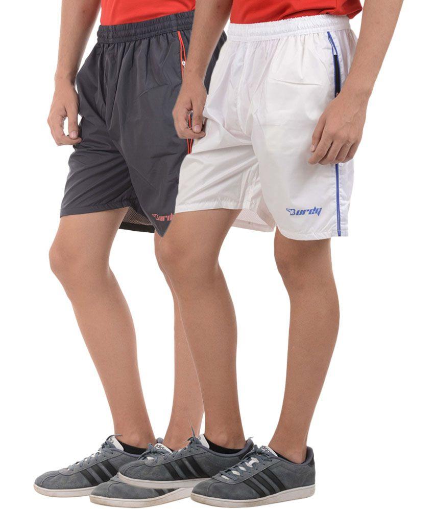 Burdy Black & White Premium Polyester Shorts (Pack of 2)