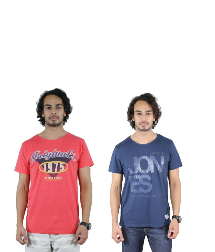 J&J Combo of 2 Blue and Red Cotton T-shirts