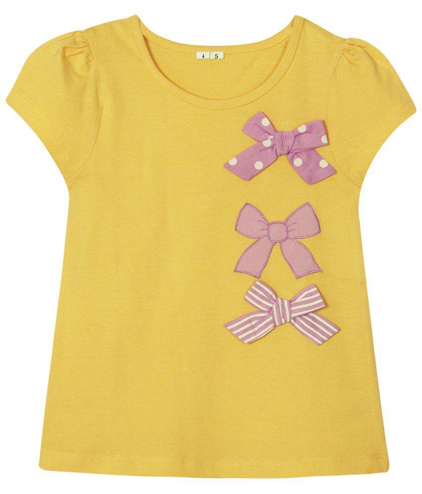 Ladybird Yellow & Pink Sleeveless Top for Kids