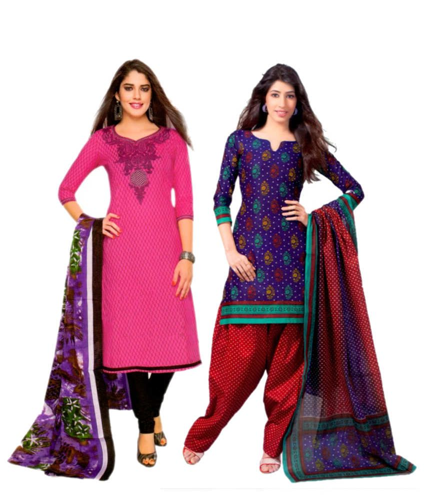 Miraan Pink and Purple Cotton Unstitched Dress Material
