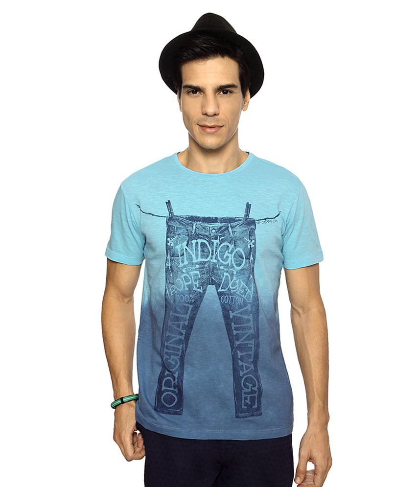 SF Jeans by Pantaloons Blue Printed Regular Fit T shirt