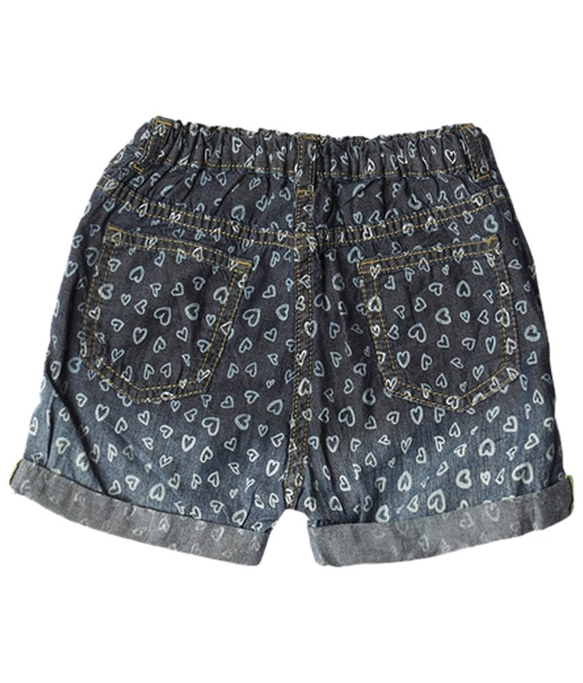 Wow Mom Cool Blue Printed Shorts for Girls