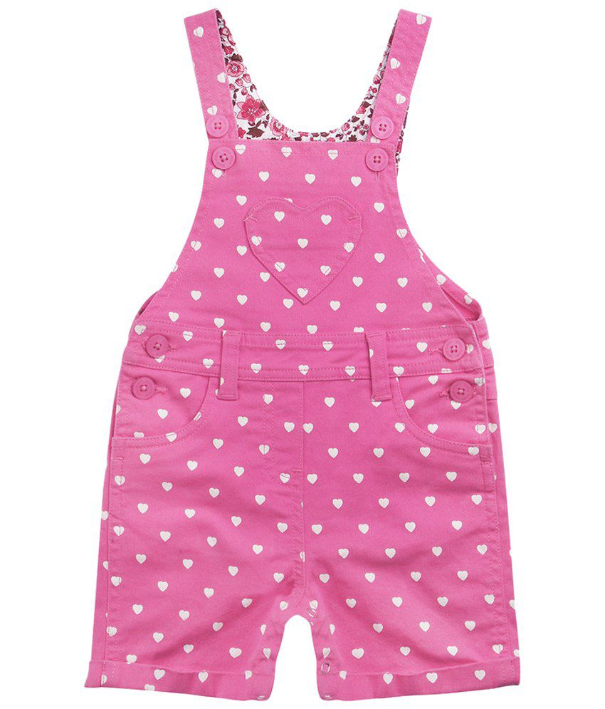 Wow Mom Pink & White Printed Shorts for Girls