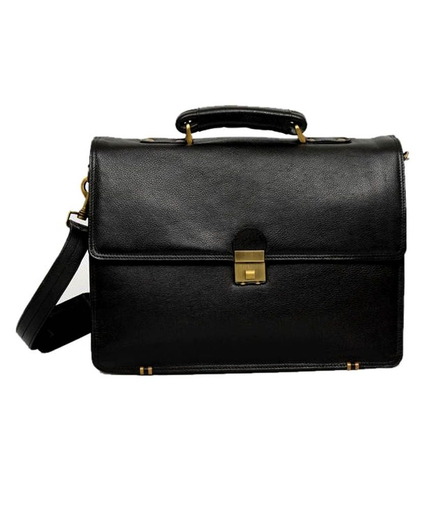 Bag Jack Andromedae Black Leather Office Messenger Bag