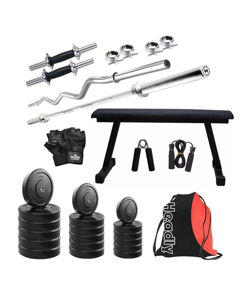 Headly kg home gym with inch dumbbells flat bench