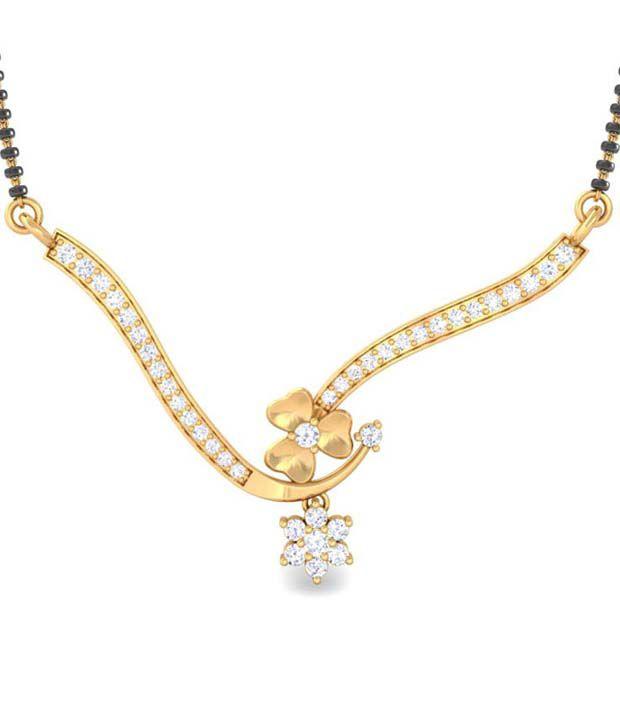 Kreeli 14K Yellow Gold Fine Diamond Mangalsutra Pendant With 0.4Ct Fg-Si1 Diamonds - Nalanda